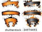 halloween grunge banners | Shutterstock .eps vector #34974493