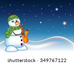snowman wearing a green head... | Shutterstock . vector #349767122
