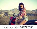 girl on red motorbike | Shutterstock . vector #349779836