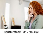 young caucasian woman in an art ... | Shutterstock . vector #349788152