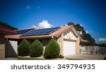 solar panels on the roof ... | Shutterstock . vector #349794935