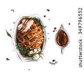 pork roast   watercolor food...   Shutterstock . vector #349796552