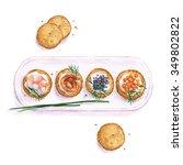 seafood snacks    watercolor... | Shutterstock . vector #349802822