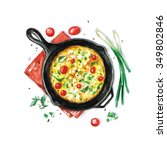 Fritata   Watercolor Food...