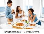 happy friends having dinner... | Shutterstock . vector #349808996