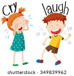 opposite adjectives cry and...   Shutterstock .eps vector #349839962