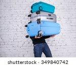 man holding three heavy... | Shutterstock . vector #349840742