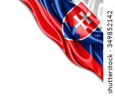slovakia   flag of silk with... | Shutterstock . vector #349852142