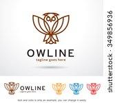owl line logo template design... | Shutterstock .eps vector #349856936