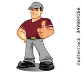 cartoon mechanic handyman... | Shutterstock .eps vector #349884386