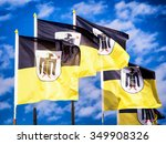 typical munich flags with monk | Shutterstock . vector #349908326