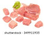 Raw Fresh Meat Chunks Isolated...