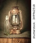 old rusty kerosene lamp and a... | Shutterstock . vector #349962518