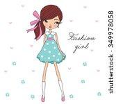 pretty fashion girl vector...   Shutterstock .eps vector #349978058