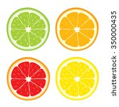 vector set of lemon  orange ... | Shutterstock .eps vector #350000435