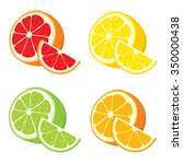 vector set of lemon  orange ... | Shutterstock .eps vector #350000438