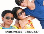 happy kids with sunglasses - stock photo
