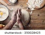 male baker prepares bread. male ... | Shutterstock . vector #350028425