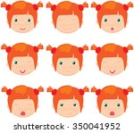 red haired girl emotions  joy ... | Shutterstock . vector #350041952
