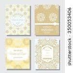 set of vintage cards or wedding ... | Shutterstock .eps vector #350053406