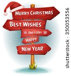 merry christmas wood road signs ... | Shutterstock .eps vector #350053556