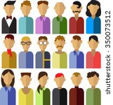 vector set of 18 men characters ... | Shutterstock .eps vector #350073512