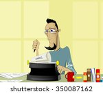 writer at work. handsome young... | Shutterstock .eps vector #350087162