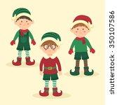 christmas boy elves with... | Shutterstock .eps vector #350107586