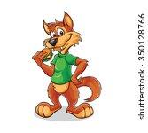 cartoon wolf with burger | Shutterstock .eps vector #350128766
