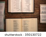 bible study on a wooden table | Shutterstock . vector #350130722