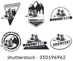 set of winter snowmobile... | Shutterstock .eps vector #350196962