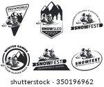 set of winter snowmobile... | Shutterstock .eps vector #350196962