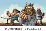 vikings.  four vikings stay on... | Shutterstock .eps vector #350231786