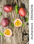 passion fruit on a wooden board ... | Shutterstock . vector #350246246