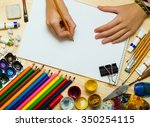the hand of the girl artist and ... | Shutterstock . vector #350254115
