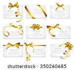 card with gold ribbon and bow... | Shutterstock .eps vector #350260685