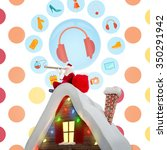 Santa Sitting On Roof Of...