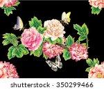 vector background peonies and... | Shutterstock .eps vector #350299466