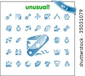 vector icons. set 2 unusual.   Shutterstock .eps vector #35031079