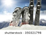 white snow and skis and shoes  | Shutterstock . vector #350321798