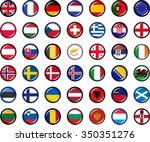 europe flag button set. set of...   Shutterstock .eps vector #350351276