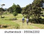 Stock photo couple dog walking at clevedon north island new zealand 350362202