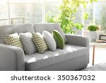 Sofa With Colorful Pillows In...