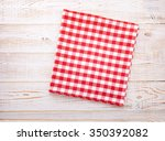 cloth napkin on white wooden... | Shutterstock . vector #350392082