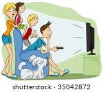 family watching tv   vector   Shutterstock .eps vector #35042872