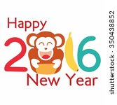 happy new year 2016 with monkey ... | Shutterstock .eps vector #350438852