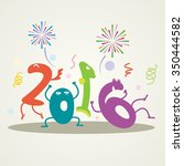 funny greeting card   happy new ... | Shutterstock .eps vector #350444582