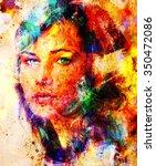 young woman portrait  color... | Shutterstock . vector #350472086