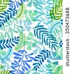 seamless leaves ditsy pattern.... | Shutterstock . vector #350473688