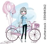 cute girl with bicycle | Shutterstock .eps vector #350484362
